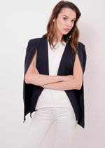 Cape Blazer Jacket Navy Halima | Lily Lulu Fashion