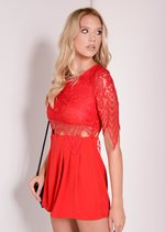 Carrie 3/4 Sleeve Red Lace Playsuit