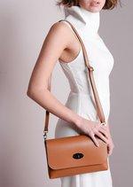Leather Clutch Shoulder Bag Tan