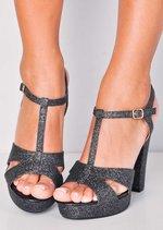 Glitter Peep Toe Platform Heeled Sandals Black