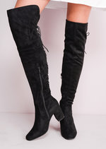 Mid Chunky Heel Over the Knee Lace Up Long Boots Black