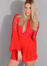 Marnie Seventies Boho Lace Insert Playsuit Red