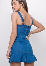 Denim Frill Hem Bodycon Dress Blue