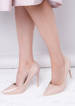 Patent Pointed Studded Stiletto Court Heels Nude Beige