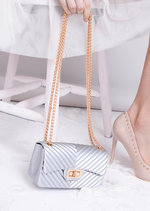 Quilted Gold Chain Mini Clutch Bag Silver