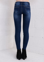 Distressed Mid Rise Dark Wash Skinny Fit Jeans