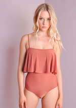 Double Layer Strappy Bodysuit Rust