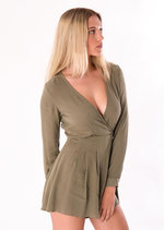 Evie Long Sleeve Wrap Playsuit Khaki