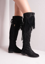 Fringed Cowboy Over The Knee Thigh High Long Boots Black