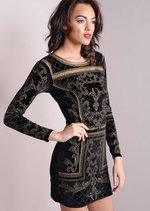 Full Sleeve Baroque Embellished Velvet Dress Black