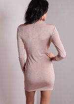 Full Sleeve Cowl Neck Shimmer Bodycon Dress Dusty Pink
