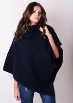 High Neck Three Button Wool Winter Cape Jacket Navy