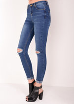 High Waisted Knee Ripped Super Skinny Denim Jeans Blue