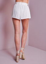 High Wasited Boho Tie Shorts White