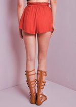 High Wasited Boho Tie Shorts Rust