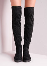 Knee High Chunky Mid Heel Faux Suede Boots Black