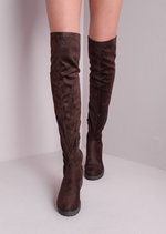 Knee High Chunky Mid Heel Faux Suede Boots Brown