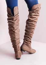 Knee High Flat Boots Taupe