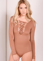 Carson Lace Up Long Sleeve Bodysuit Camel