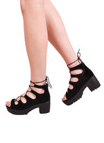 Lace Up Cleated Platform Sandal Shoes Black