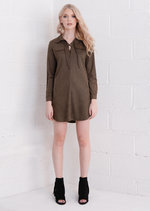 Lace Up Faux Suede Shirt Dress Khaki