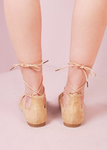 Lace Up Pointed Ballet Flats Beige