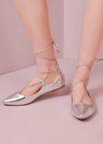 Lace Up Reptile Pointed Ballet Flats Silver
