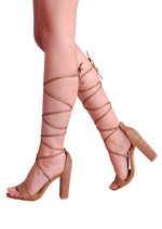 Lace Up Tie Strappy Block Heels Sandal Mocha