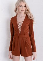 Lace Up Front Plunge Playsuit Rust