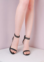 Lizard Stiletto Strappy Buckled Barely There Heeled Sandals