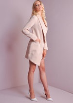 Long Sleeve Deep Plunge Tuxedo Dress Nude