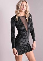 Long Sleeve Glitter Mesh Insert Bodycon Velvet Dress Black