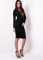 Long Sleeve Lace Up Bodycon Dress Black