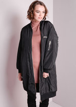Longline Oversized Bomber Jacket Black
