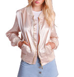 MA-1 Contrast Ribbed Satin Bomber Jacket Peach