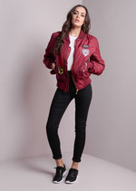 MA-1 Padded Bomber Jacket Patch Burgundy