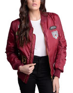MA-1 Padded Bomber Jacket With Patch Details Burgundy