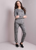 Melange Jewel Studded Tracksuit Loungewear Co Ord Top with Trousers Set Grey