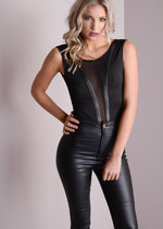 Mesh Insert Leather Trim Bodysuit