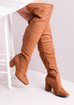 Mid Chunky Heel Over the Knee Lace Up Long Boots Tan