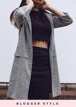 Gingham Tailored Longline Cropped Sleeve Blazer Black