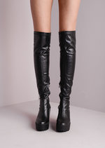 Over The Knee Cleated Sole Faux Leather Platform Boots Black