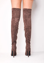 Over The Knee Faux Suede Pointed Thigh High Long Boots Taupe