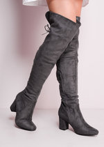 Mid Chunky Heel Over the Knee Lace Up Long Boots Tan-Copy