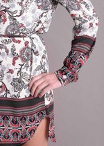 Paisley Print Shirt Mini Dress White