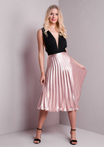 Pleated Satin Metallic Midi Skirt Rose Gold