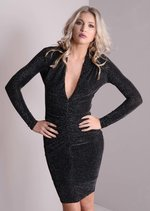 Plunge Neck Bodycon Glitter Ruched Dress Black