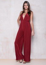 Plunge Neck Cross Strap Slinky Jumpsuit Red