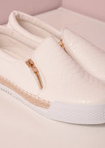 Raffia Braided Trim Snake Print Slip On Sneaker Pumps White