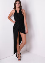 Sammi Asymmetric Halterneck Dress Black